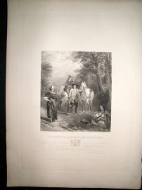 After C.R.Leslie C1840 LG Folio Antique Print. Sir Roger De Coverley & The Gypsies